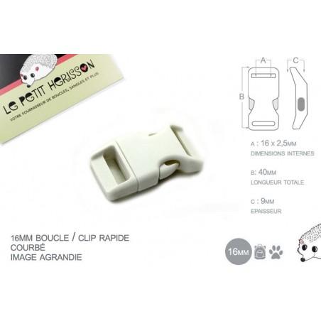 1 x 16mm Boucle Attache Rapide / Fermoir Clip / Plastique / Blanc / Simple