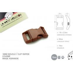 1 x 16mm Boucle Attache Rapide / Fermoir Clip / Plastique / Marron / Simple