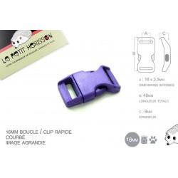 1 x 16mm Boucle Attache Rapide / Fermoir Clip / Plastique / Violet / Simple