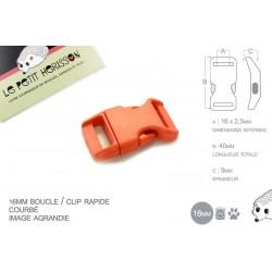 1 x 16mm Boucle Attache Rapide / Fermoir Clip / Plastique / Orange / Simple