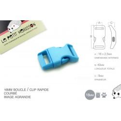 1 x 16mm Boucle Attache Rapide / Fermoir Clip / Plastique / Bleu Clair / Simple