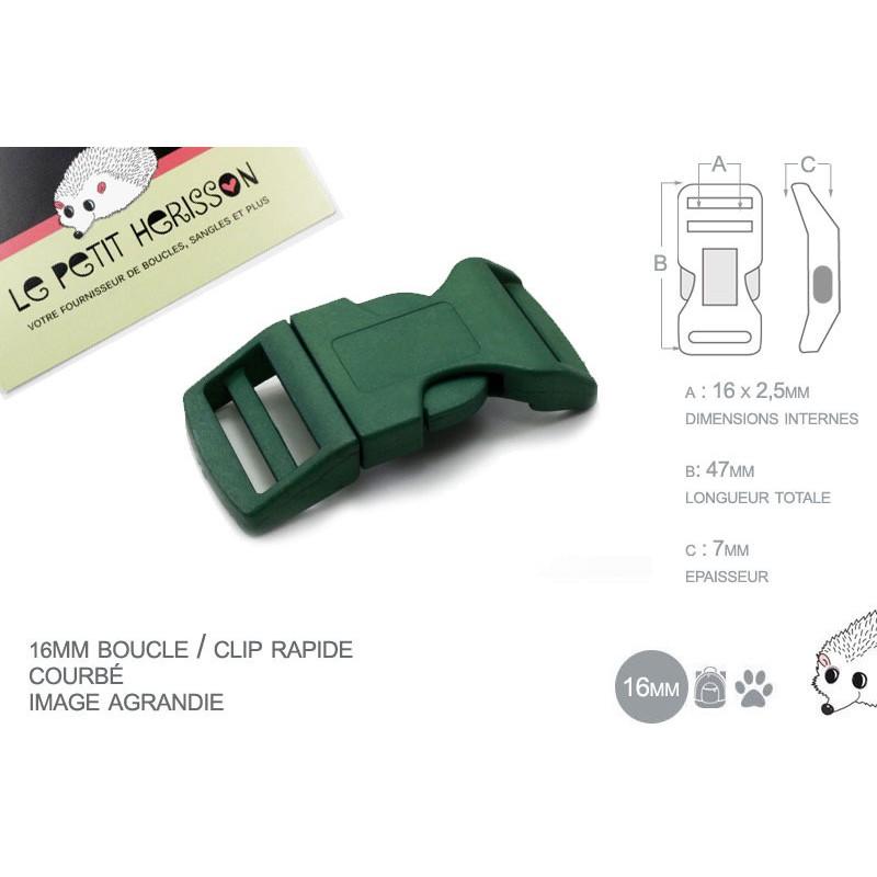1 x 16mm Boucle Attache Rapide / Fermoir Clip / Plastique / Vert Fonce