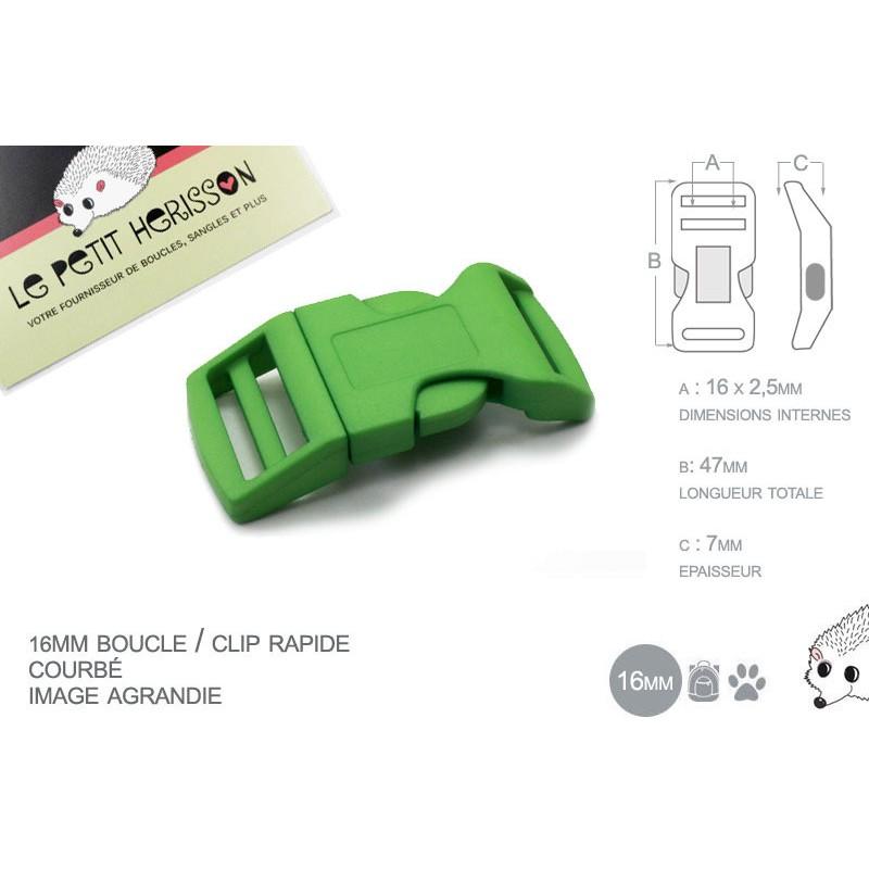 1 x 16mm Boucle Attache Rapide / Fermoir Clip / Plastique / Vert