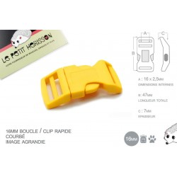 1 x 16mm Boucle Attache Rapide / Fermoir Clip / Plastique / Jaune
