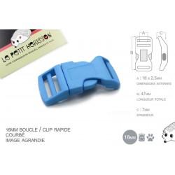 1 x 16mm Boucle Attache Rapide / Fermoir Clip / Plastique / Bleu Clair
