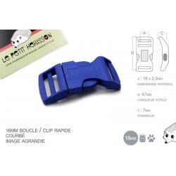 1 x 16mm Boucle Attache Rapide / Fermoir Clip / Plastique / Bleu