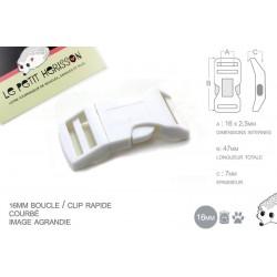 1 x 16mm Boucle Attache Rapide / Fermoir Clip / Plastique / Blanc