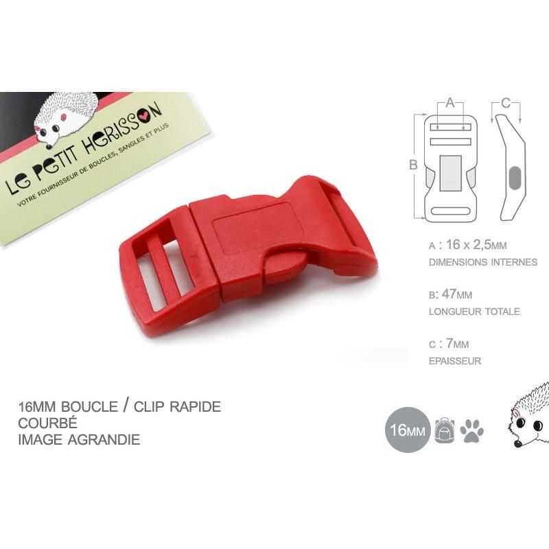 1 x 16mm Boucle Attache Rapide / Fermoir Clip / Plastique / Rouge