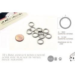 10 x 8mm Anneaux ronds / Métal / Soudé / Nickel