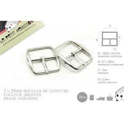 2 x 20mm Boucles de ceintures / Métal / Argente / Carré