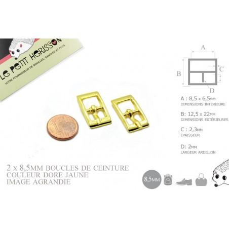2 x 8,5mm Boucles de ceintures / Métal / Dore Jaune