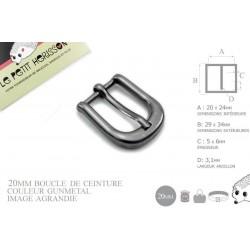 1 x 20mm Boucle de ceinture / Métal / Gunmetal / Épais