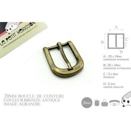 1 x 20mm Boucle de ceinture / Métal / Bronze Antique / Épais
