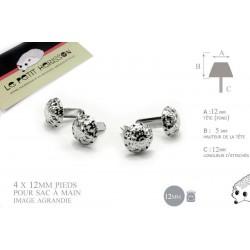 4 x 12mm Pieds pour Sac a Main / Métal / Rond / Argente / Elegant