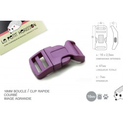 1 x 16mm Boucle Attache Rapide / Fermoir Clip / Plastique / Prune