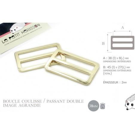2 x 38mm Boucles Coulisse / Passants Doubles / Metal / Dore Clair