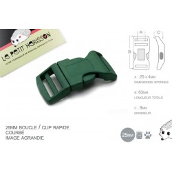1 x 25mm Boucle Attache Rapide / Fermoir Clip / Plastique / Vert Fonce