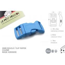 1 x 25mm Boucle Attache Rapide / Fermoir Clip / Plastique / Bleu Clair