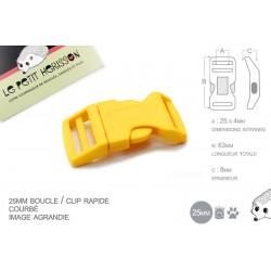 1 x 25mm Boucle Attache Rapide / Fermoir Clip / Plastique / Jaune