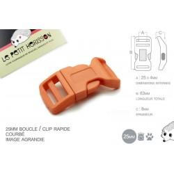1 x 25mm Boucle Attache Rapide / Fermoir Clip / Plastique / Orange