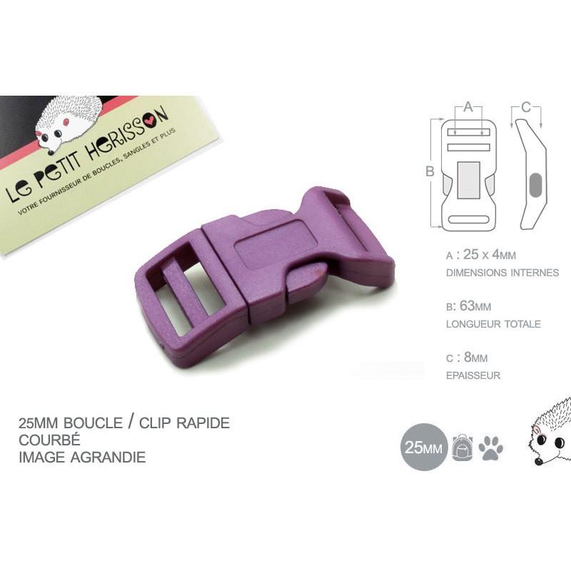 25mm Boucle plastique attache rapide / clic-clac Prune