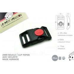 1 x 25mm Boucle Attache Rapide / Fermoir Clip / Plastique / Sécurité / Noir