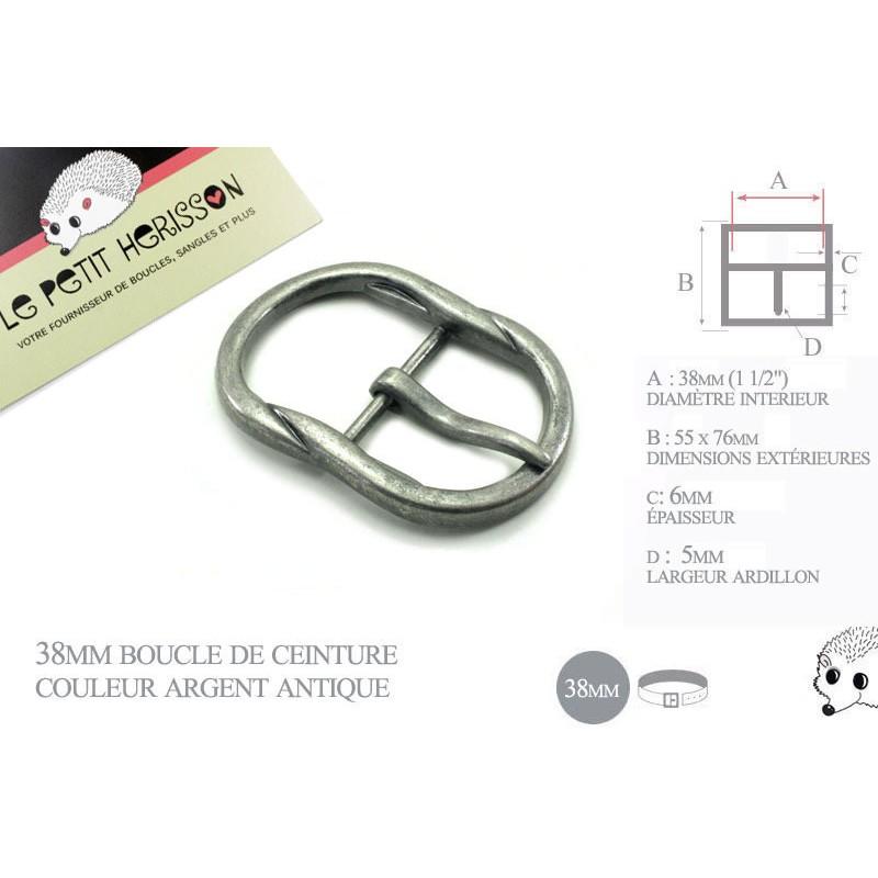 1 x 38mm Boucle de ceinture / zinc massif / argente antique