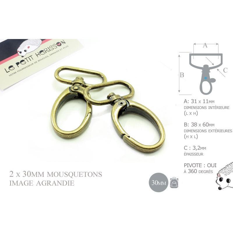 2 x 30mm Mousquetons Pivotants / Metal / Ovale / Bronze Antique