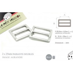 2 x 25mm Boucles Coulisse / Passants Doubles / Nickel / Metal