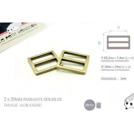 2 x 20mm Boucles Coulisse / Passants Doubles / Bronze Antique / Metal