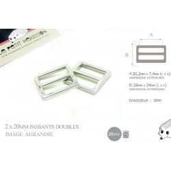 2 x 20mm Boucles Coulisse / Passants Doubles / Nickel / Metal