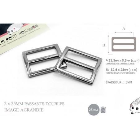 2 x 25mm Boucles Coulisse / Passants Doubles / Gunmetal / Metal