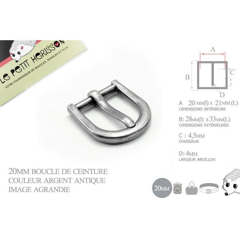 1 x 20mm  Boucle de ceinture / Métal / Argent Antique