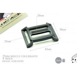 25mm Boucle Coulissante / Boucle Réglable / Plastique / 4 trous / Noir
