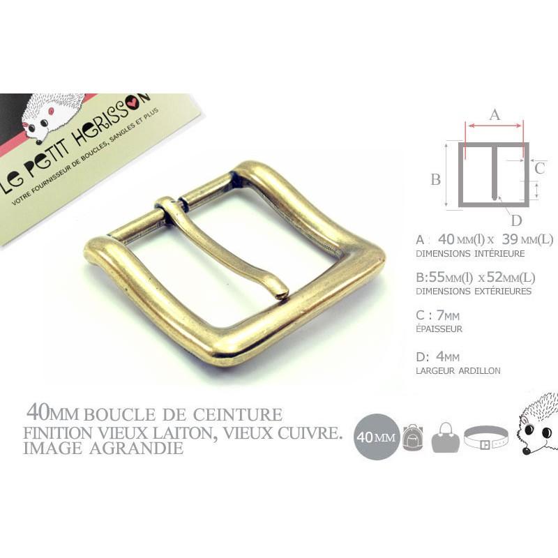 1 x 40mm  Boucle de ceinture / Métal / Vieux Cuivre