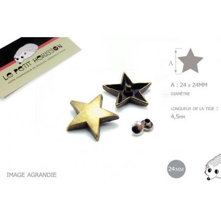 2 x 24mm - rivets décoratifs étoile bronze - pour le cuir