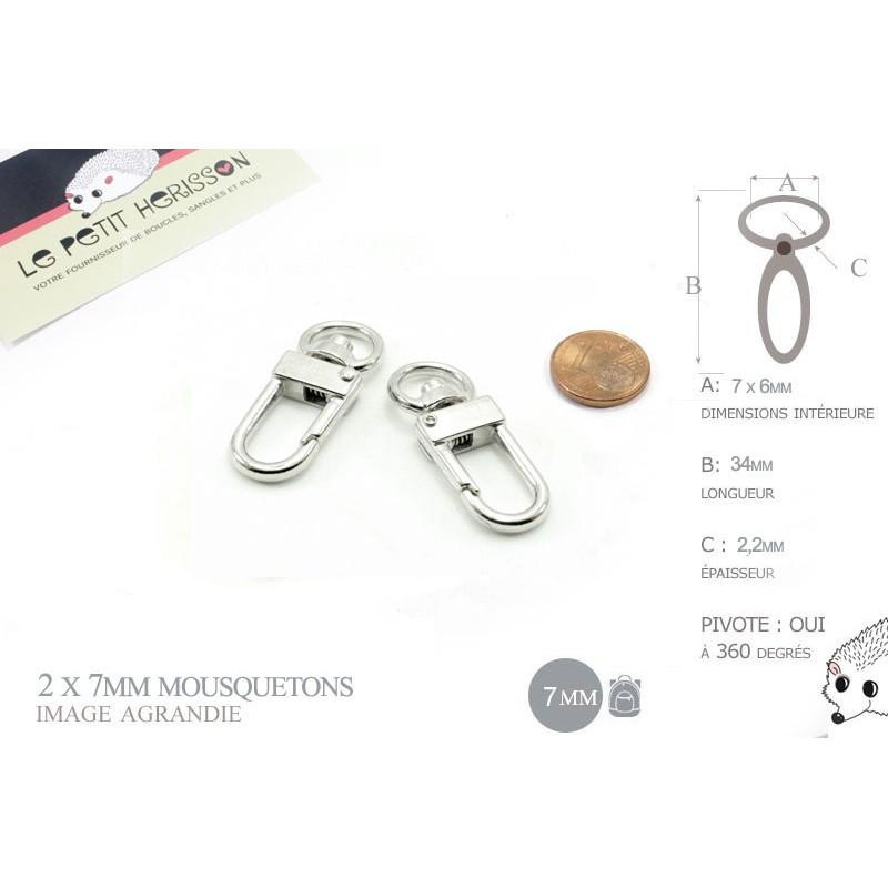 2 x 7mm Mousquetons Pivotants / Métal / Argente