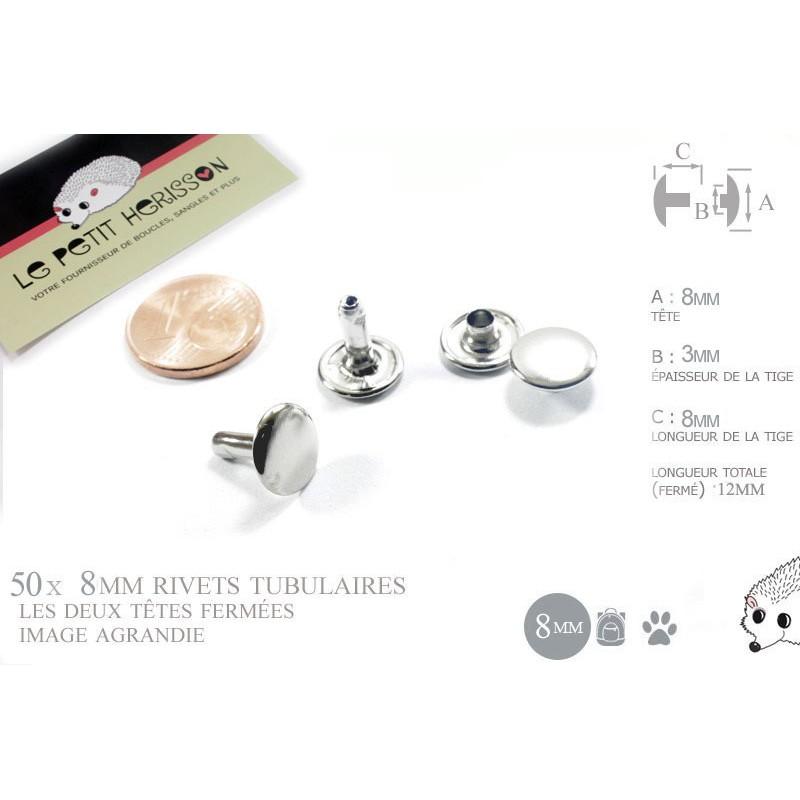 50 x 8mm Rivets Tubulaires / Acier / Plat / Nickel