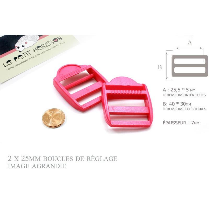 2 x 25mm Boucles de Règlage / Boucles de Serrage / Plastique / Fuchsia