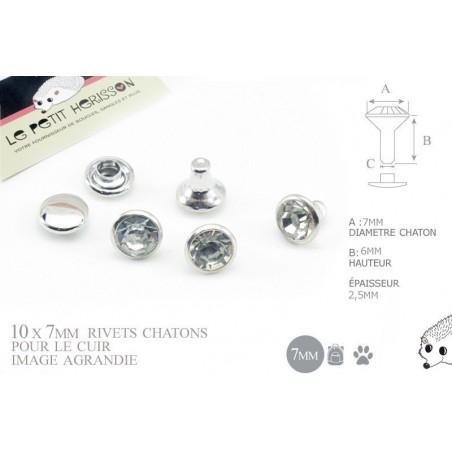 10 x 7mm Rivets Décoratifs Chaton / Rond / Transparent