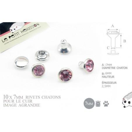 10 x 7mm Rivets Décoratifs Chaton / Rond / Rose