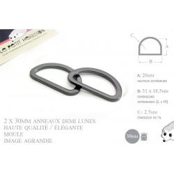 2 x 30mm Anneaux demi lunes / Metal / Moule / Haute Qualité / Gunmetal