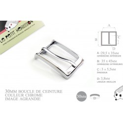 29mm - couleur chrome - boucle de ceinture - métal