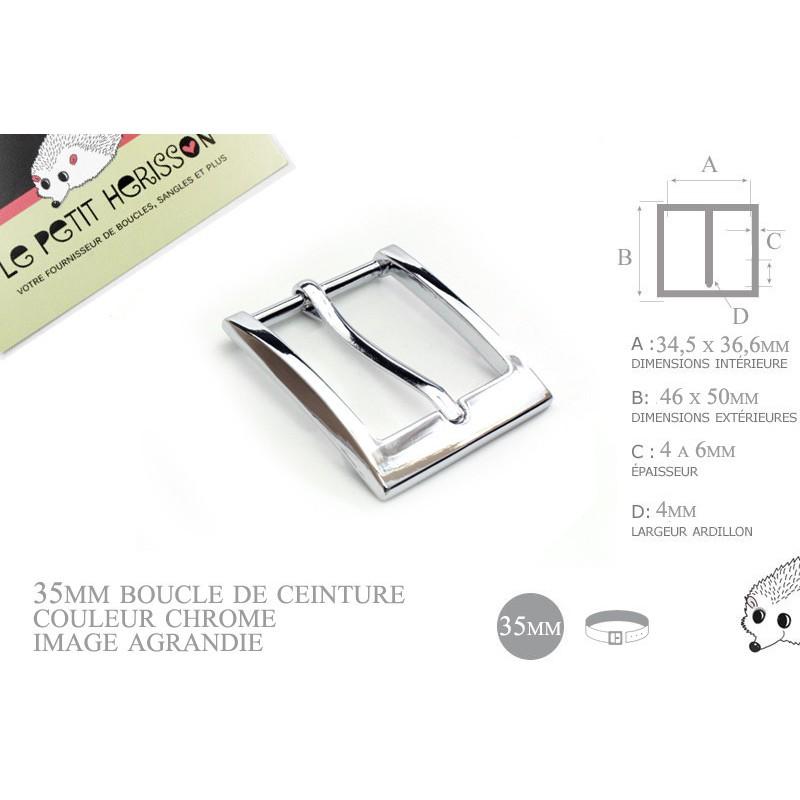 35mm - couleur chrome - boucle de ceinture - métal