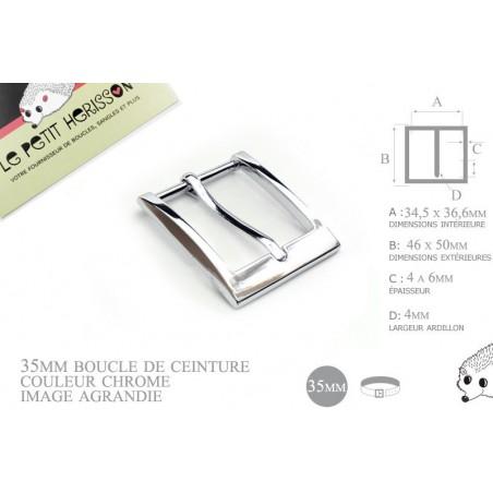 1 x 35mm  Boucle de ceinture / Métal / Chrome / Légère Courbe