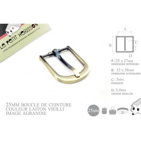 1 x 25mm  Boucle de ceinture / Métal / Laiton vieilli / Laiton Brosse / Demi Rond