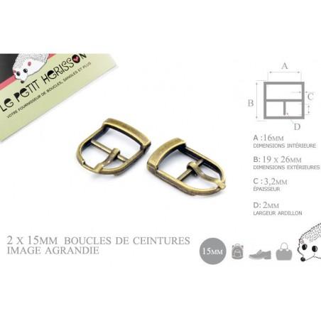 2 x 15mm Boucles de ceintures / Métal / Bronze / Pour les Chaussures