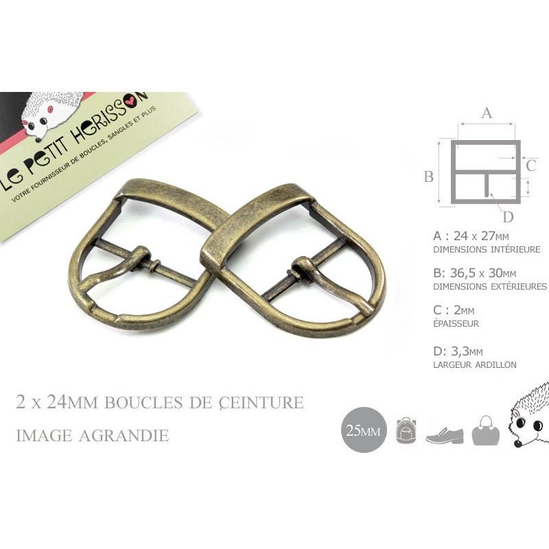 2 x 25mm Boucles de ceintures / Métal / Bronze / Pour les Chaussures