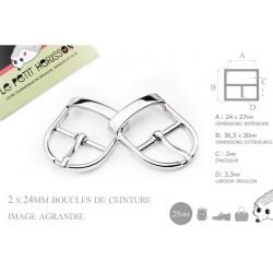 2 x 25mm Boucles de ceintures / Métal / Argente / Pour les Chaussures
