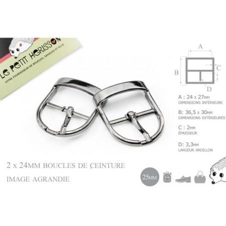 2 x 25mm Boucles de ceintures / Métal / Gunmetal / Pour les Chaussures